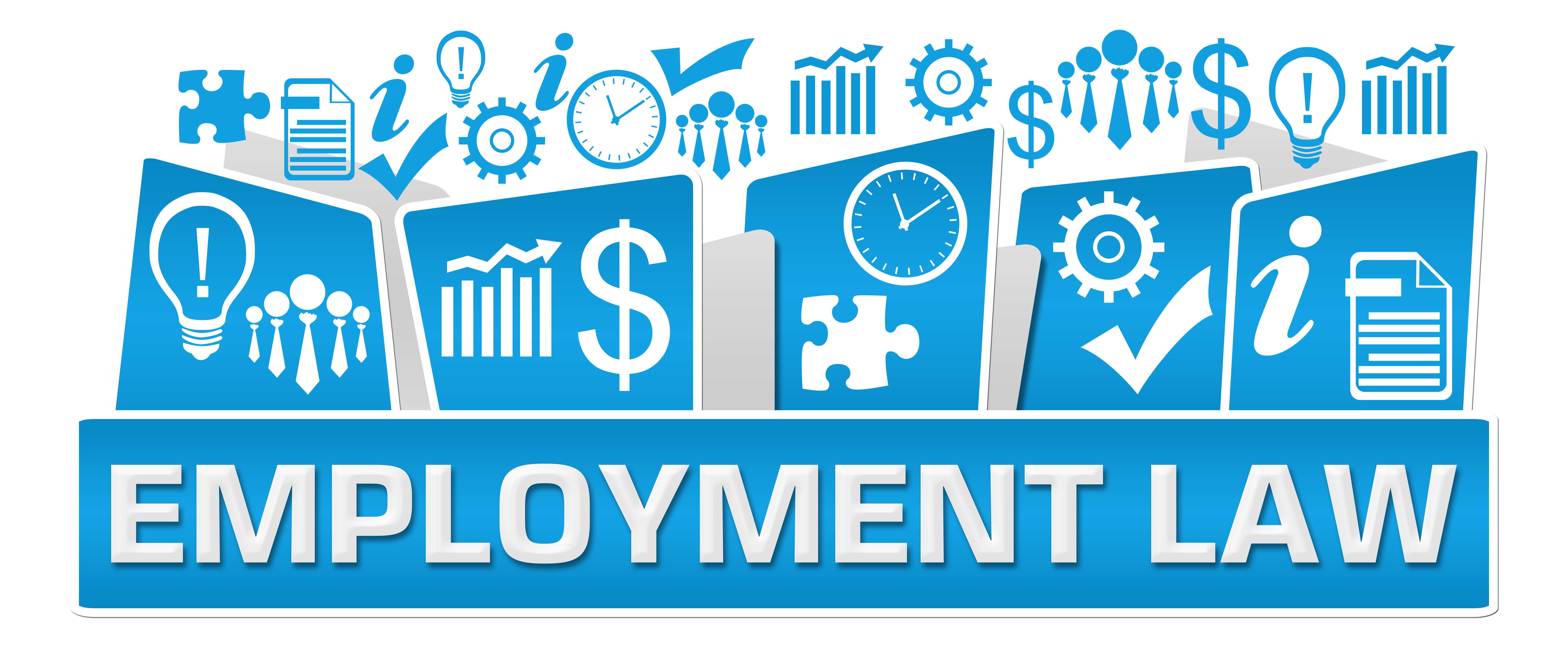 Employment Law Business Symbols On Top Blue